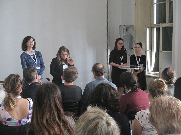 Opening Speeches - Organizing Committee (from left to right): Gianna Zocco, Katharina Edtstadler, Andrea Kreuter, and Sandra Folie (Photo credit: Sophie Seidler)