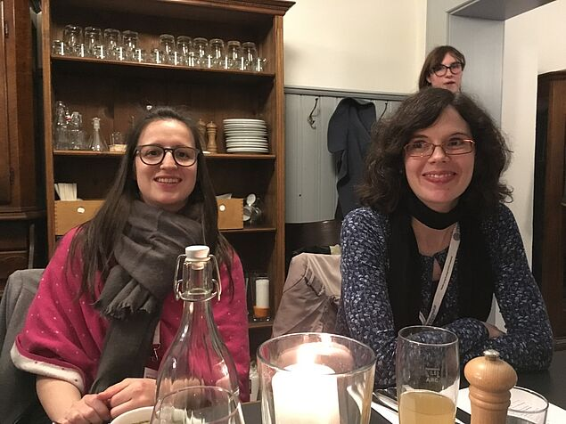 Conference Dinner at Prinz Ferdinand (from left to right): Andrea Kreuter and Gianna Zocco from the Organizing Committee (Photo credit: Sandra Folie)